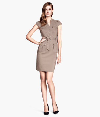 Cargo Dress - style: shirt; length: mid thigh; sleeve style: capped; fit: tailored/fitted; pattern: plain; hip detail: front pockets at hip; waist detail: belted waist/tie at waist/drawstring; predominant colour: taupe; neckline: collarstand; fibres: cotton - stretch; sleeve length: short sleeve; texture group: cotton feel fabrics; pattern type: fabric; occasions: creative work; season: s/s 2014