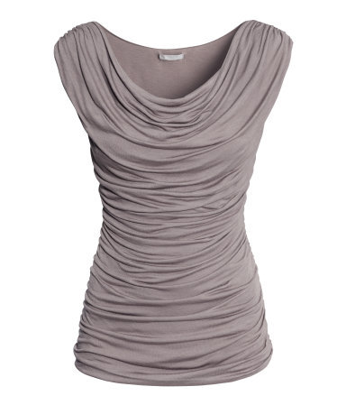 Draped Top - neckline: cowl/draped neck; sleeve style: capped; pattern: plain; predominant colour: taupe; occasions: casual, evening, work, creative work; length: standard; style: top; fibres: viscose/rayon - 100%; fit: tight; sleeve length: sleeveless; texture group: jersey - clingy; season: s/s 2014