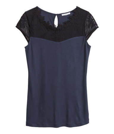 Lace Top - neckline: round neck; sleeve style: capped; shoulder detail: contrast pattern/fabric at shoulder; predominant colour: navy; secondary colour: black; occasions: casual, evening, work, creative work; length: standard; style: top; fibres: viscose/rayon - 100%; fit: body skimming; sleeve length: short sleeve; pattern: colourblock; texture group: jersey - stretchy/drapey; embellishment: lace; trends: lace; season: s/s 2014