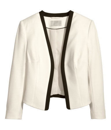 Jersey Jacket - style: single breasted blazer; collar: round collar/collarless; predominant colour: ivory/cream; occasions: casual, evening, work, occasion, creative work; length: standard; fit: tailored/fitted; fibres: polyester/polyamide - stretch; sleeve length: 3/4 length; sleeve style: standard; collar break: low/open; pattern type: fabric; pattern: colourblock; texture group: woven light midweight; season: s/s 2014