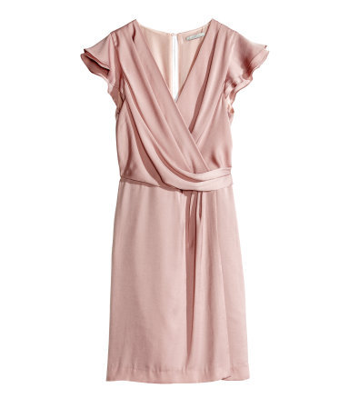 Satin Dress - style: faux wrap/wrap; length: mid thigh; neckline: low v-neck; sleeve style: angel/waterfall; fit: fitted at waist; pattern: plain; predominant colour: nude; occasions: evening, occasion; fibres: polyester/polyamide - 100%; sleeve length: short sleeve; texture group: silky - light; pattern type: fabric; season: s/s 2014
