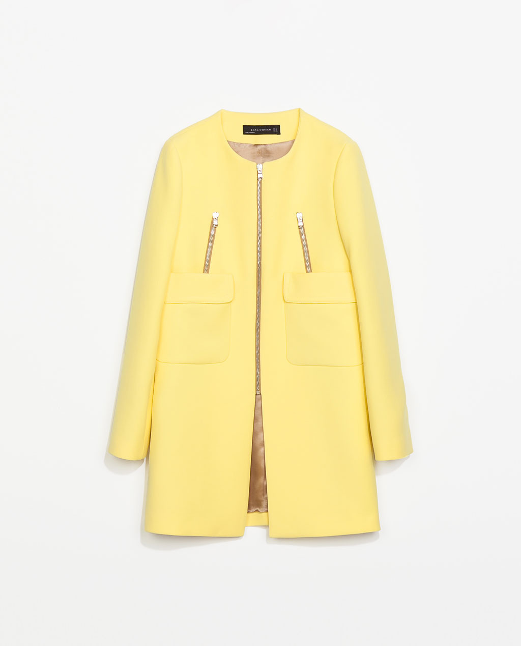 Coat With Pockets - pattern: plain; collar: round collar/collarless; style: single breasted; length: mid thigh; predominant colour: primrose yellow; occasions: casual, evening, work, creative work; fit: straight cut (boxy); fibres: polyester/polyamide - stretch; sleeve length: long sleeve; sleeve style: standard; collar break: high; pattern type: fabric; texture group: woven bulky/heavy; trends: sorbet shades; season: s/s 2014