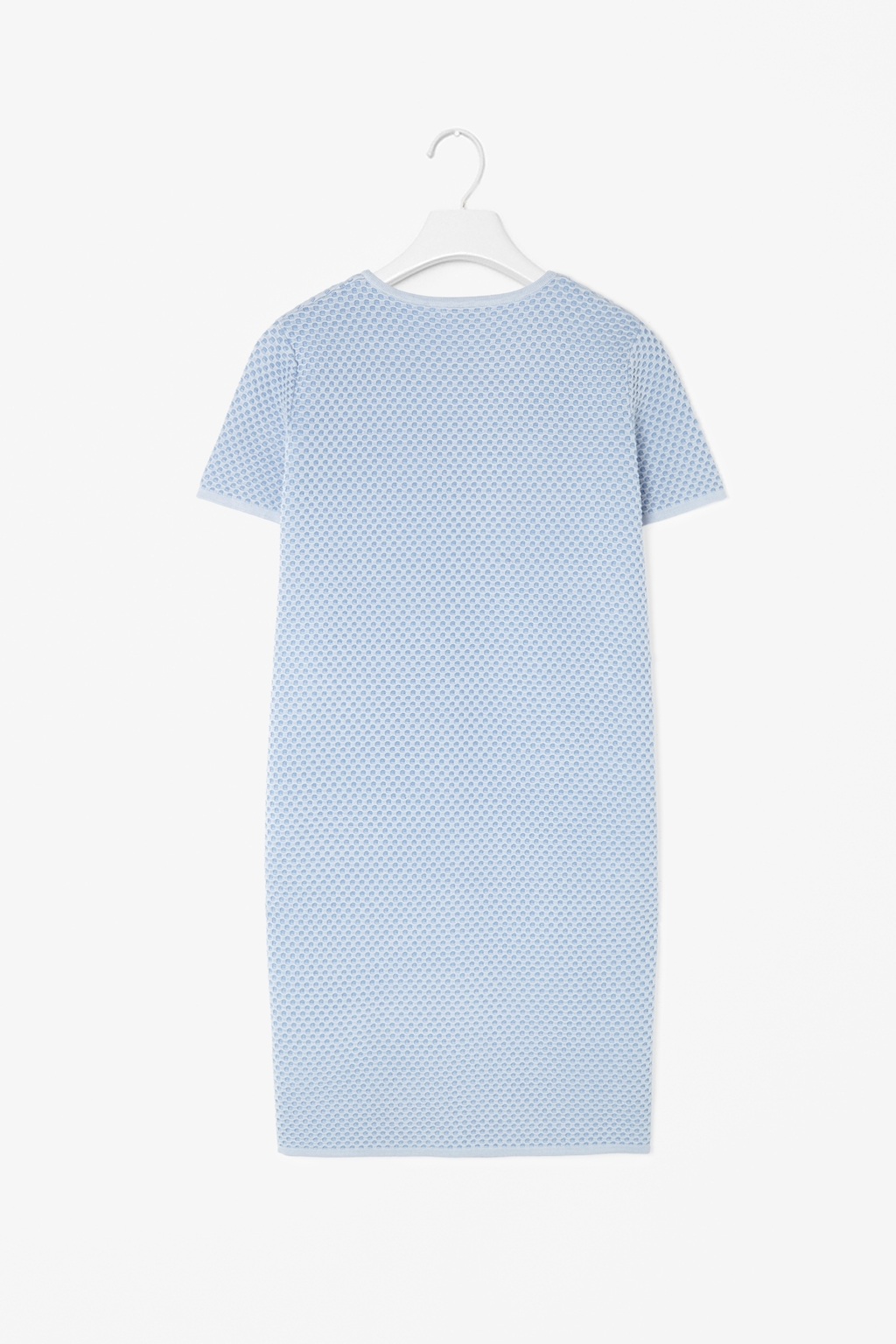Structured Knit Dress - style: t-shirt; length: mid thigh; pattern: plain; predominant colour: pale blue; occasions: evening, creative work; fit: straight cut; fibres: cotton - 100%; neckline: crew; sleeve length: short sleeve; sleeve style: standard; texture group: knits/crochet; pattern type: knitted - other; season: s/s 2014