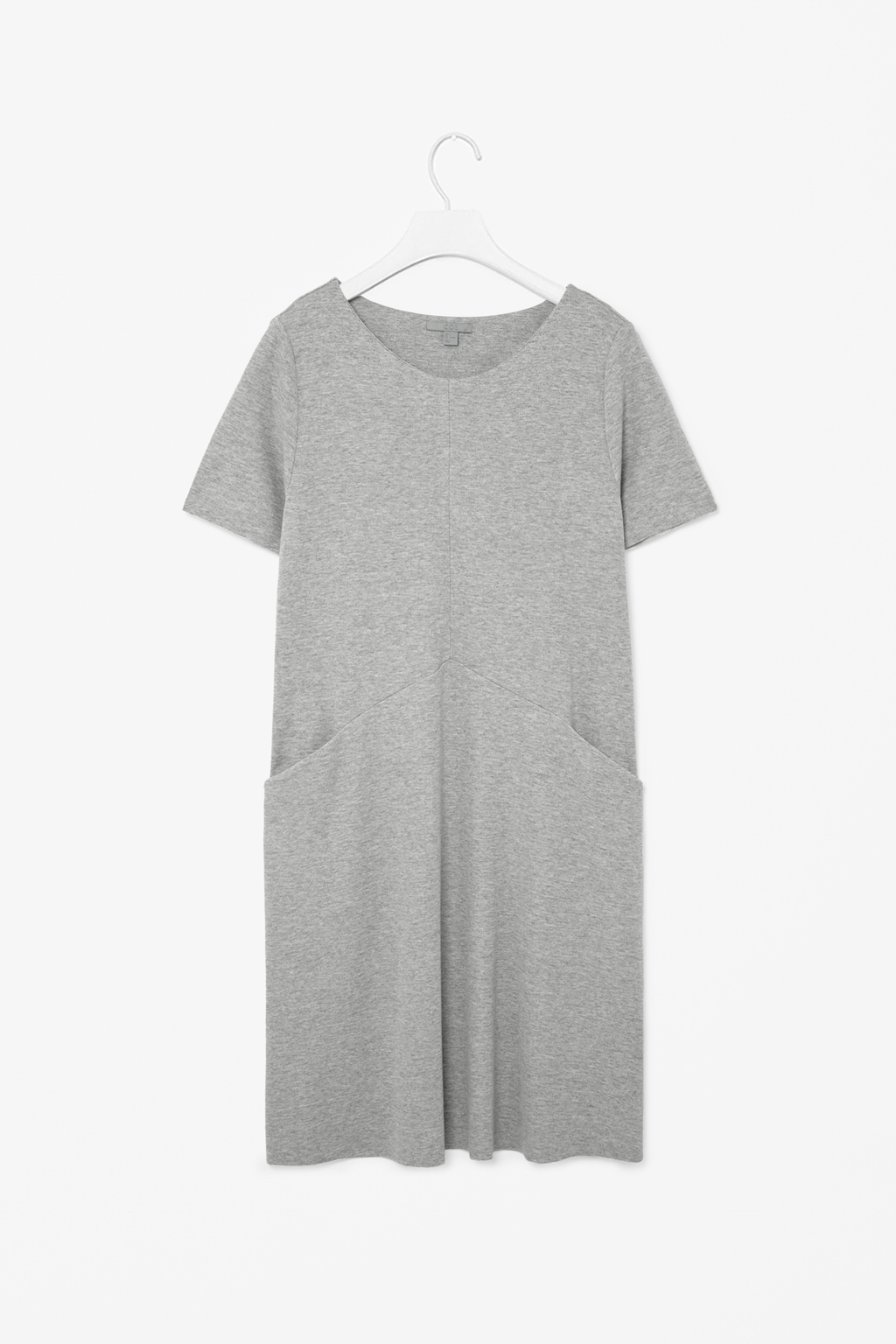 A Line Jersey Dress - style: t-shirt; neckline: round neck; fit: loose; pattern: plain; hip detail: front pockets at hip; predominant colour: mid grey; occasions: casual, evening, holiday, creative work; length: just above the knee; fibres: viscose/rayon - stretch; sleeve length: short sleeve; sleeve style: standard; pattern type: fabric; texture group: jersey - stretchy/drapey; season: s/s 2014