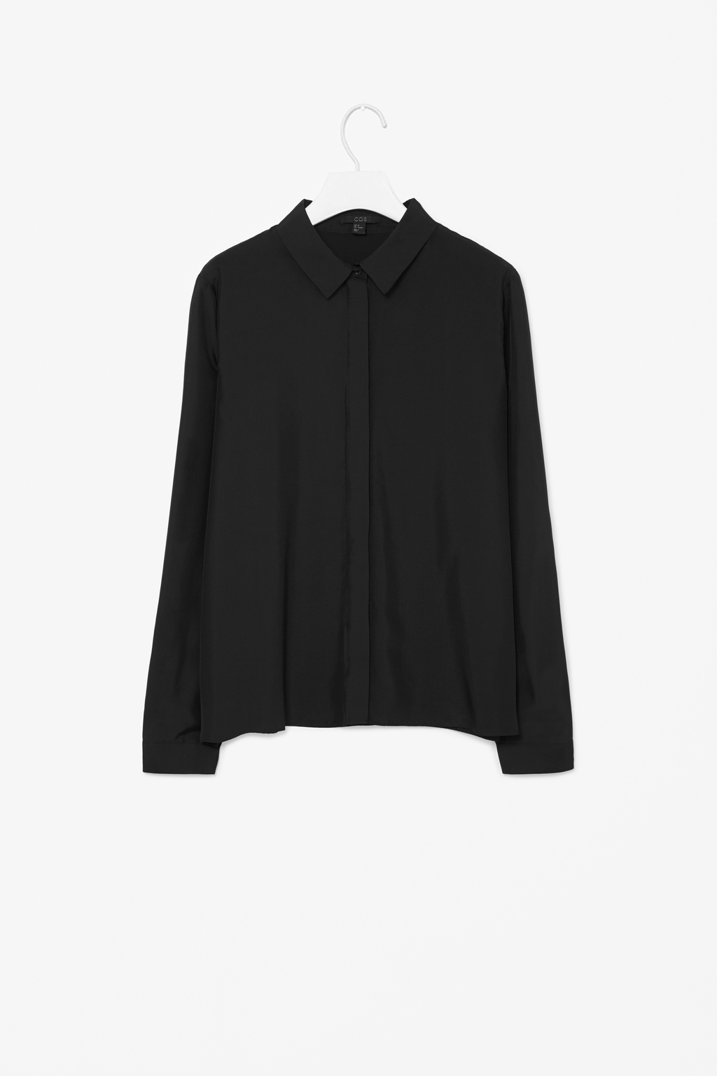 Straight Silk Shirt - neckline: shirt collar/peter pan/zip with opening; pattern: plain; style: shirt; predominant colour: black; occasions: casual, evening, work, creative work; length: standard; fibres: silk - 100%; fit: straight cut; sleeve length: long sleeve; sleeve style: standard; texture group: silky - light; pattern type: fabric; season: s/s 2014