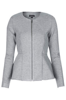 Slim Peplum Zip Jacket - pattern: plain; style: single breasted blazer; collar: round collar/collarless; predominant colour: light grey; occasions: casual, evening, work, creative work; length: standard; fit: tailored/fitted; fibres: polyester/polyamide - 100%; waist detail: peplum detail at waist; sleeve length: long sleeve; sleeve style: standard; collar break: high; pattern type: fabric; texture group: other - light to midweight; season: s/s 2014; wardrobe: basic