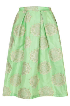 Antique Jacquard Midi Skirt - length: below the knee; style: full/prom skirt; fit: loose/voluminous; waist: high rise; predominant colour: pistachio; secondary colour: light grey; occasions: casual, evening, work, occasion, holiday, creative work; fibres: polyester/polyamide - mix; hip detail: subtle/flattering hip detail; texture group: structured shiny - satin/tafetta/silk etc.; pattern type: fabric; pattern: patterned/print; trends: hot brights, sorbet shades, powerful pleats; season: s/s 2014; pattern size: light/subtle (bottom)
