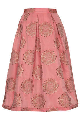 Antique Jacquard Midi Skirt - length: below the knee; style: full/prom skirt; fit: loose/voluminous; waist: high rise; predominant colour: pink; secondary colour: taupe; occasions: casual, evening, work, occasion, holiday, creative work; fibres: polyester/polyamide - mix; hip detail: soft pleats at hip/draping at hip/flared at hip; texture group: structured shiny - satin/tafetta/silk etc.; pattern type: fabric; pattern: florals; trends: powerful pleats, world traveller; season: s/s 2014; pattern size: light/subtle (bottom)
