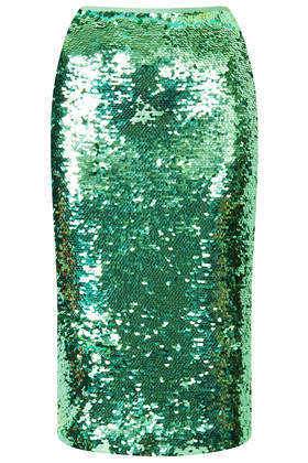 Mint Sequin Pencil Skirt - pattern: plain; style: pencil; fit: tailored/fitted; waist: high rise; predominant colour: dark green; occasions: evening, occasion, creative work; length: on the knee; fibres: nylon - 100%; pattern type: fabric; texture group: other - light to midweight; embellishment: sequins; season: s/s 2014; wardrobe: highlight; embellishment location: all over