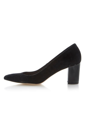 **Alivia Mixed Material Asymmetric Pointed Toe Court Shoes Dune - predominant colour: black; occasions: evening, work, occasion, creative work; material: suede; heel height: high; heel: block; toe: pointed toe; style: courts; finish: plain; pattern: plain; season: s/s 2014