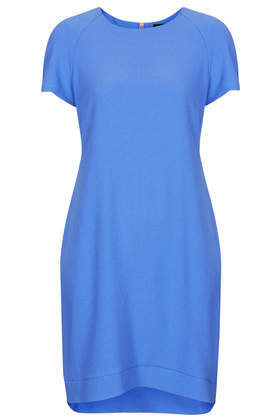 Crepe Tee Shift Dress - style: shift; length: mid thigh; neckline: round neck; pattern: plain; predominant colour: diva blue; occasions: casual, evening, holiday, creative work; fit: body skimming; fibres: polyester/polyamide - mix; sleeve length: short sleeve; sleeve style: standard; texture group: crepes; season: s/s 2014