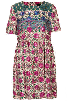 Folk Border Chuck On Dress - style: smock; neckline: round neck; predominant colour: stone; occasions: casual, evening, holiday, creative work; length: just above the knee; fit: fitted at waist & bust; fibres: viscose/rayon - 100%; hip detail: soft pleats at hip/draping at hip/flared at hip; sleeve length: short sleeve; sleeve style: standard; texture group: cotton feel fabrics; pattern type: fabric; pattern size: standard; pattern: patterned/print; secondary colour: dusky pink; trends: world traveller; season: s/s 2014