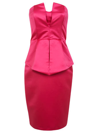 Pink Bandeau Peplum Dress - neckline: strapless (straight/sweetheart); fit: tailored/fitted; pattern: plain; sleeve style: sleeveless; style: corset; waist detail: peplum waist detail; predominant colour: hot pink; occasions: evening, occasion; length: just above the knee; fibres: polyester/polyamide - 100%; sleeve length: sleeveless; texture group: structured shiny - satin/tafetta/silk etc.; pattern type: fabric; trends: hot brights, show-off shoulders; season: s/s 2014