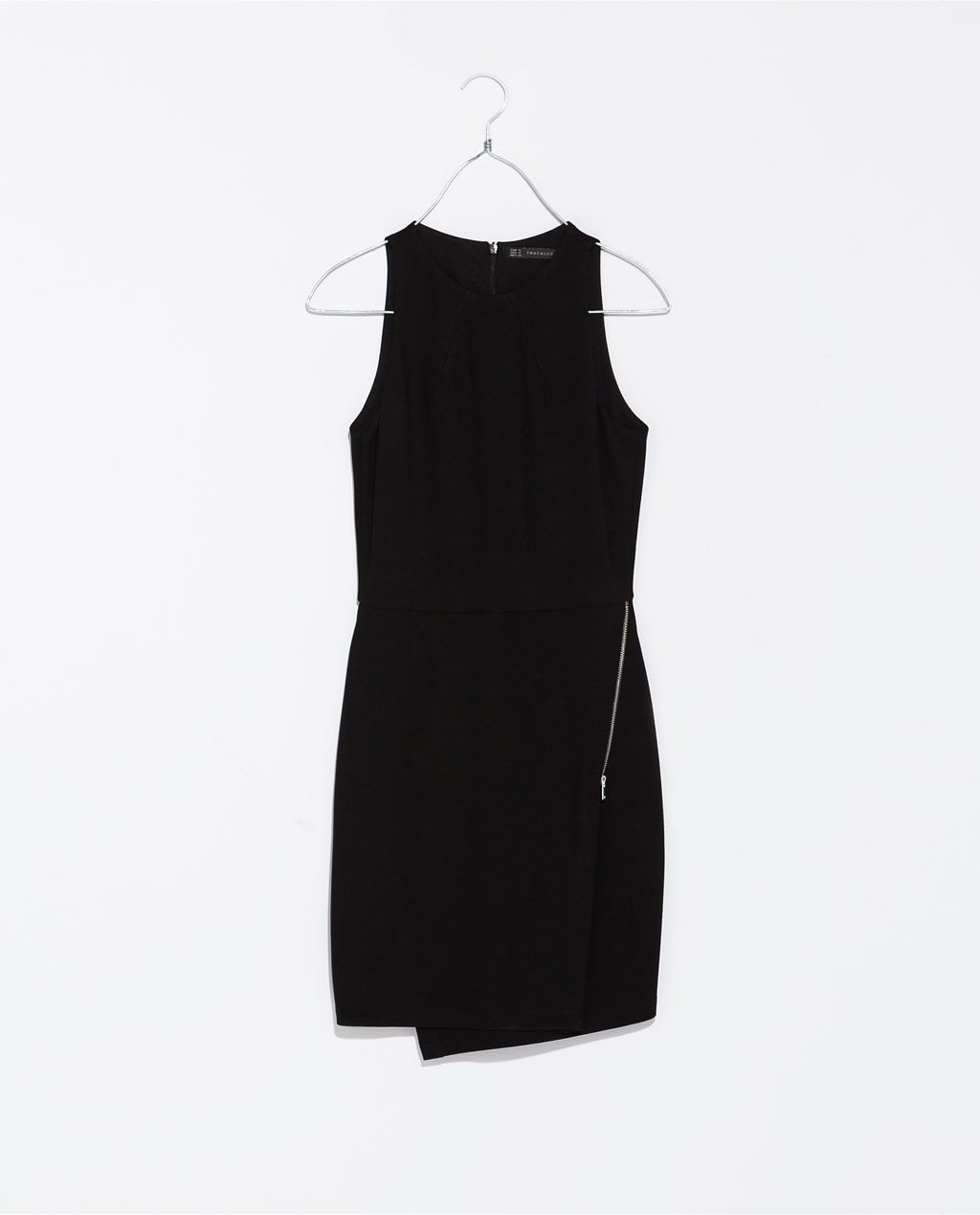 Zip Up Dress - style: shift; length: mid thigh; neckline: round neck; fit: tailored/fitted; pattern: plain; sleeve style: sleeveless; predominant colour: black; occasions: casual, evening, occasion, creative work; fibres: viscose/rayon - stretch; sleeve length: sleeveless; texture group: woven light midweight; embellishment: zips; season: s/s 2014