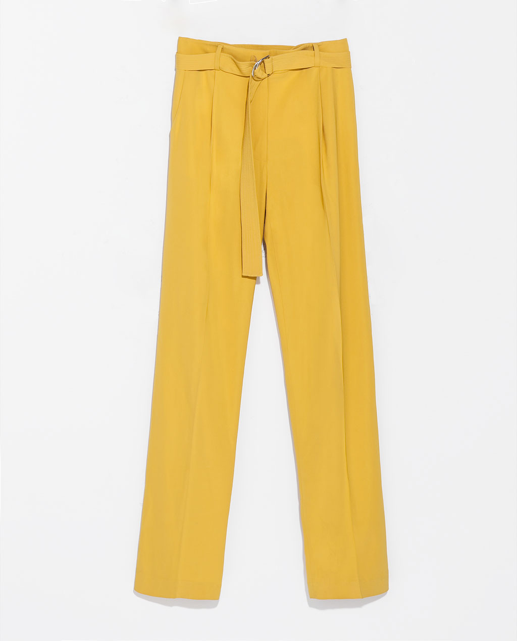 A Line Trousers With Belt With Buckle - length: standard; pattern: plain; pocket detail: small back pockets, pockets at the sides; waist detail: belted waist/tie at waist/drawstring; waist: mid/regular rise; predominant colour: yellow; occasions: casual, evening, holiday, creative work; fibres: polyester/polyamide - 100%; texture group: crepes; fit: wide leg; pattern type: fabric; style: standard; trends: hot brights; season: s/s 2014