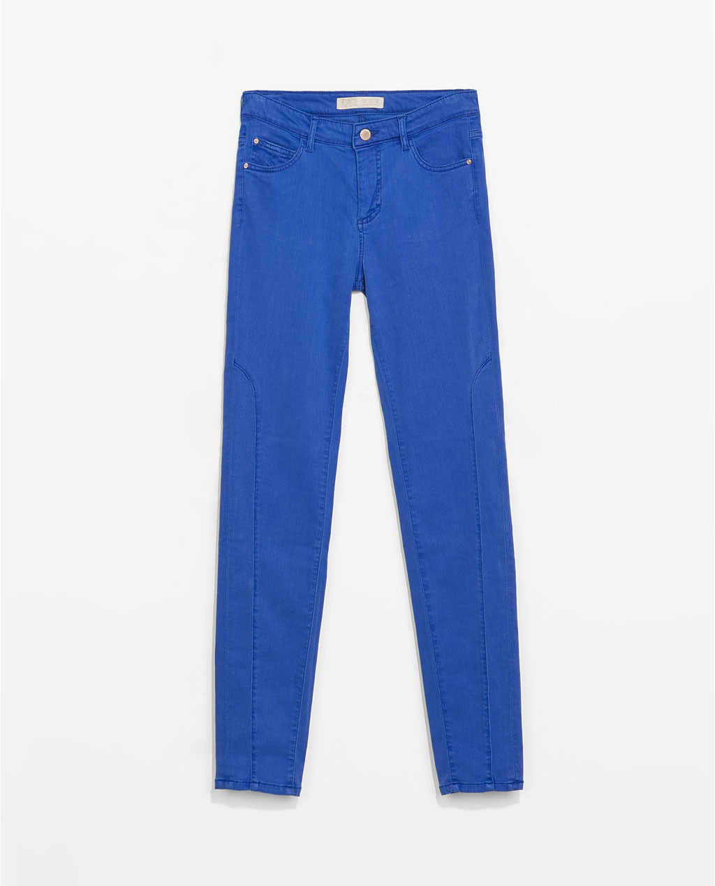 5 Pocket Colored Trousers - length: standard; pattern: plain; pocket detail: traditional 5 pocket; waist: mid/regular rise; predominant colour: royal blue; occasions: casual, creative work; style: chino; fibres: viscose/rayon - stretch; texture group: denim; fit: slim leg; pattern type: fabric; trends: hot brights; season: s/s 2014