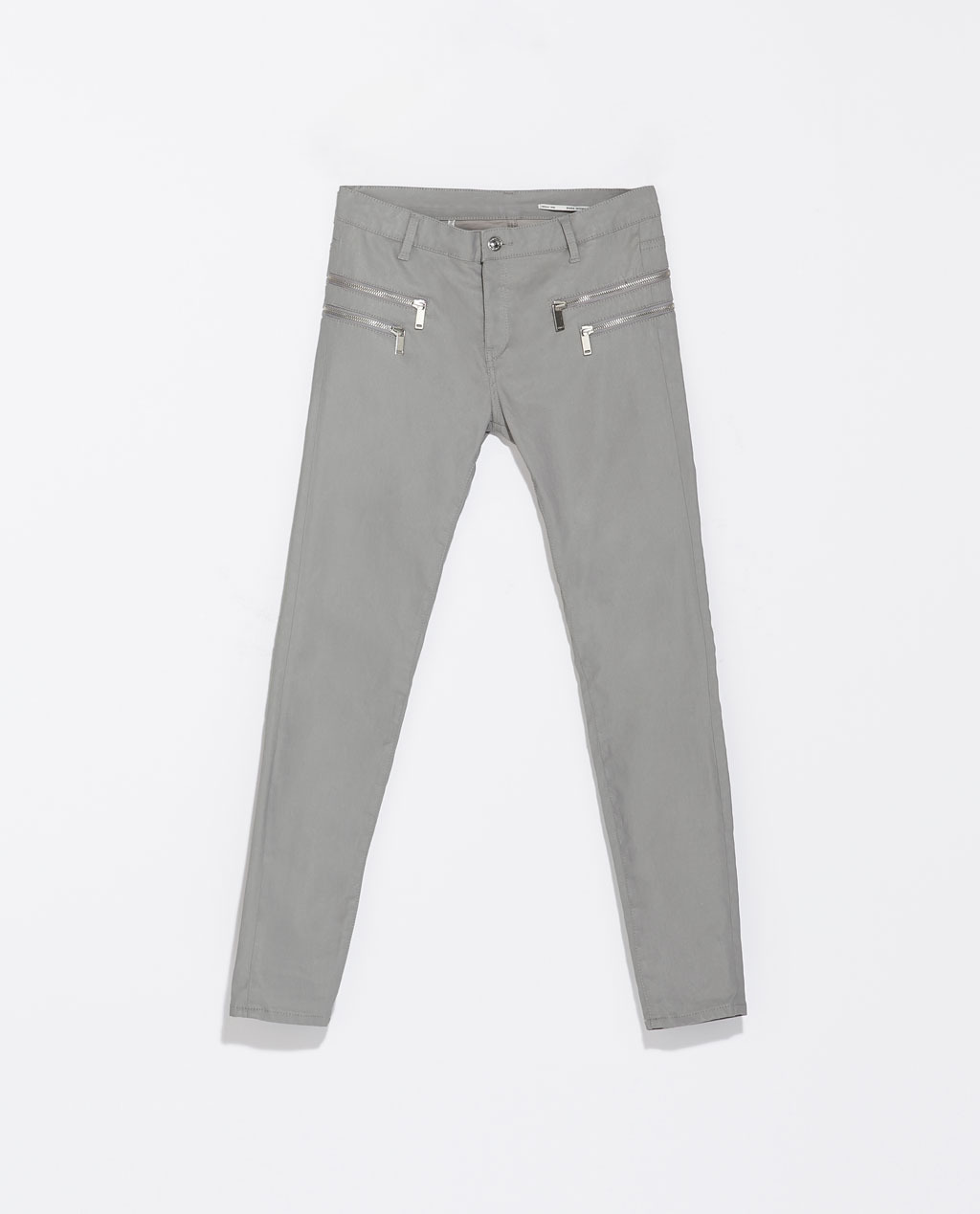 Coated Trousers With Zips - pattern: plain; waist: mid/regular rise; predominant colour: light grey; occasions: casual, creative work; length: ankle length; fibres: cotton - stretch; texture group: waxed cotton; fit: skinny/tight leg; pattern type: fabric; style: standard; season: s/s 2014