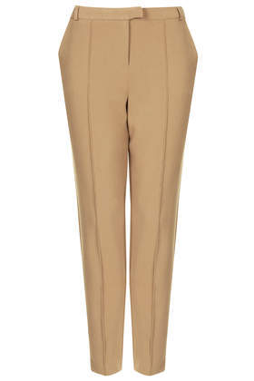 Seam Detail Cigarette Trousers - length: standard; pattern: plain; pocket detail: small back pockets, pockets at the sides; waist: mid/regular rise; predominant colour: camel; occasions: casual, work, creative work; fibres: polyester/polyamide - mix; texture group: crepes; fit: slim leg; style: standard; season: s/s 2014
