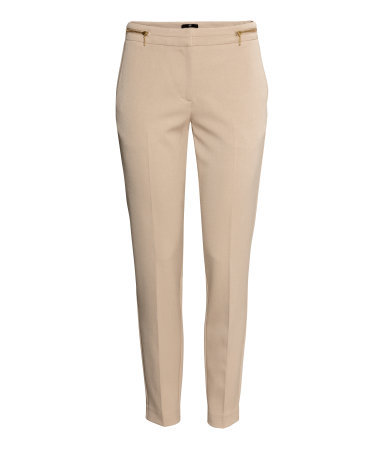Slacks - pattern: plain; waist: mid/regular rise; predominant colour: nude; occasions: casual, evening, work, holiday, creative work; length: ankle length; style: chino; fibres: polyester/polyamide - mix; texture group: crepes; fit: slim leg; pattern type: fabric; season: s/s 2014