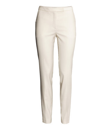Suit Trousers - length: standard; pattern: plain; waist: mid/regular rise; predominant colour: ivory/cream; occasions: casual, work, creative work; fibres: polyester/polyamide - stretch; fit: slim leg; texture group: other - light to midweight; style: standard; season: s/s 2014