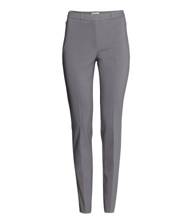 Slim Fit Suit Trousers - length: standard; pattern: plain; waist: mid/regular rise; predominant colour: mid grey; occasions: casual, evening, work, creative work; fibres: cotton - stretch; waist detail: feature waist detail; fit: slim leg; pattern type: fabric; texture group: other - light to midweight; style: standard; season: s/s 2014