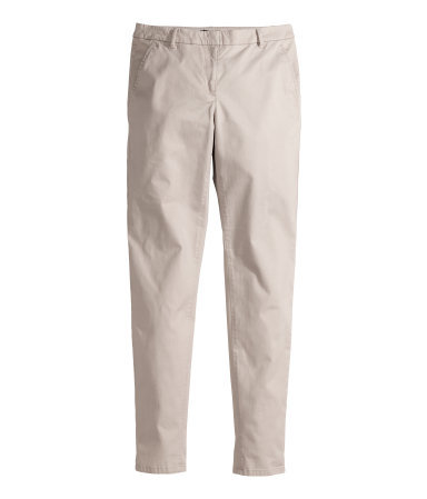Chinos - length: standard; pattern: plain; waist: mid/regular rise; predominant colour: stone; occasions: casual, creative work; style: chino; fibres: cotton - stretch; texture group: cotton feel fabrics; fit: slim leg; pattern type: fabric; season: s/s 2014