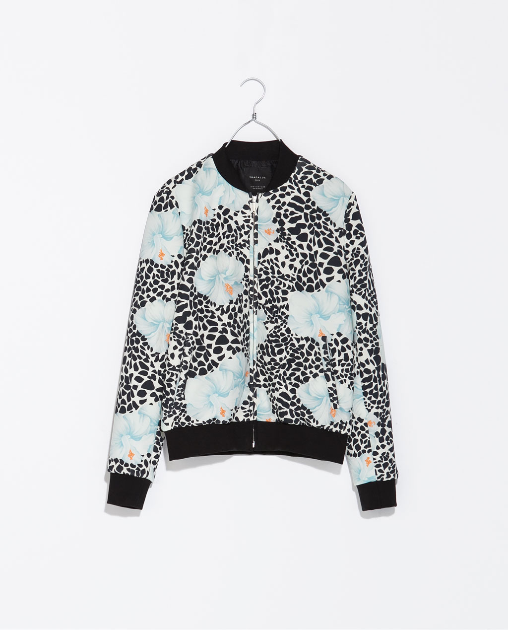 Printed Neoprene Bomber Jacket - collar: round collar/collarless; style: bomber; secondary colour: pale blue; predominant colour: black; occasions: casual, creative work; length: standard; fit: straight cut (boxy); fibres: polyester/polyamide - stretch; sleeve length: long sleeve; sleeve style: standard; collar break: high; pattern type: fabric; pattern: florals; texture group: other - light to midweight; trends: furious florals; season: s/s 2014; pattern size: big & busy (top)
