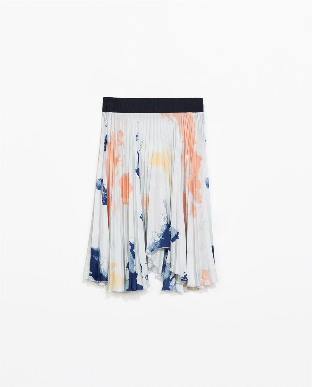 Pleated Print Skirt - length: below the knee; style: full/prom skirt; fit: loose/voluminous; waist detail: elasticated waist; waist: mid/regular rise; predominant colour: black; occasions: casual, occasion, creative work; fibres: polyester/polyamide - 100%; hip detail: subtle/flattering hip detail; texture group: cotton feel fabrics; pattern type: fabric; pattern: patterned/print; season: s/s 2014; pattern size: standard (bottom); multicoloured: multicoloured; wardrobe: highlight