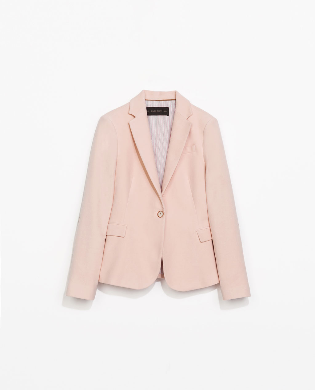 Blazer With Elbow Patches - pattern: plain; style: single breasted blazer; collar: standard lapel/rever collar; predominant colour: pink; secondary colour: tan; occasions: casual, creative work; length: standard; fit: tailored/fitted; fibres: cotton - 100%; sleeve length: long sleeve; sleeve style: standard; texture group: cotton feel fabrics; collar break: low/open; pattern type: fabric; trends: sorbet shades; season: s/s 2014