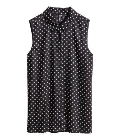 Sleeveless Blouse - neckline: shirt collar/peter pan/zip with opening; sleeve style: sleeveless; style: shirt; pattern: polka dot; secondary colour: white; predominant colour: black; occasions: casual, creative work; length: standard; fibres: viscose/rayon - 100%; fit: straight cut; sleeve length: sleeveless; pattern type: fabric; pattern size: standard; texture group: woven light midweight; season: s/s 2014; trends: monochrome