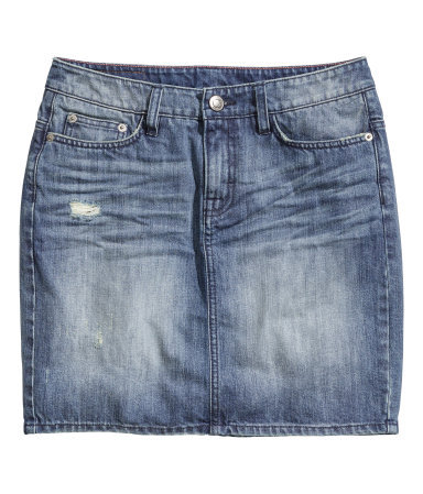 Denim Skirt - length: mini; pattern: plain; fit: tailored/fitted; waist: mid/regular rise; predominant colour: denim; occasions: casual, holiday; style: mini skirt; fibres: cotton - stretch; texture group: denim; pattern type: fabric; season: s/s 2014