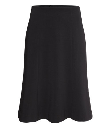Flared Skirt - pattern: plain; fit: tailored/fitted; waist: mid/regular rise; predominant colour: black; occasions: evening, work, occasion, creative work; length: on the knee; style: fit & flare; fibres: polyester/polyamide - stretch; pattern type: fabric; texture group: other - light to midweight; season: s/s 2014