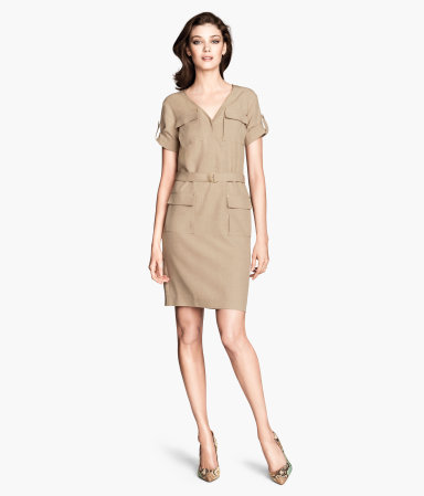 Dress In A Lyocell Mix - style: shift; neckline: low v-neck; fit: tailored/fitted; pattern: plain; waist detail: belted waist/tie at waist/drawstring; predominant colour: camel; occasions: casual, creative work; length: just above the knee; fibres: linen - mix; sleeve length: short sleeve; sleeve style: standard; texture group: crepes; pattern type: fabric; season: s/s 2014