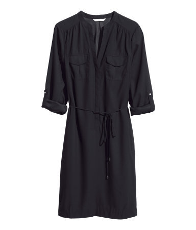 Shirt Dress - style: shirt; neckline: shirt collar/peter pan/zip with opening; pattern: plain; waist detail: belted waist/tie at waist/drawstring; predominant colour: black; occasions: casual, creative work; length: just above the knee; fit: straight cut; fibres: polyester/polyamide - 100%; sleeve length: 3/4 length; sleeve style: standard; texture group: cotton feel fabrics; pattern type: fabric; season: s/s 2014