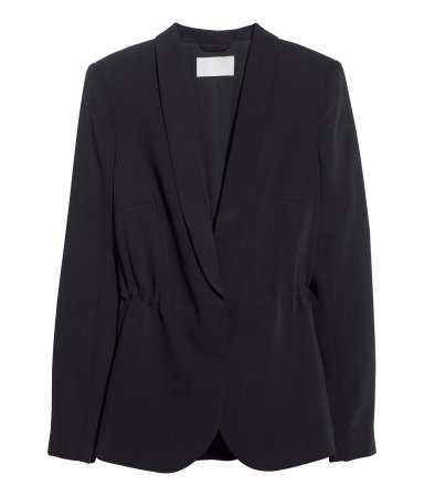 Drawstring Jacket - pattern: plain; style: single breasted blazer; collar: shawl/waterfall; length: below the bottom; predominant colour: black; occasions: casual, work, creative work; fit: tailored/fitted; fibres: polyester/polyamide - stretch; sleeve length: long sleeve; sleeve style: standard; collar break: low/open; pattern type: fabric; texture group: woven light midweight; season: s/s 2014