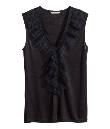 Frilled Top - neckline: low v-neck; pattern: plain; sleeve style: sleeveless; predominant colour: black; occasions: casual, evening, work, creative work; length: standard; style: top; fibres: viscose/rayon - 100%; fit: body skimming; sleeve length: sleeveless; bust detail: tiers/frills/bulky drapes/pleats; pattern type: fabric; texture group: jersey - stretchy/drapey; trends: lace; season: s/s 2014