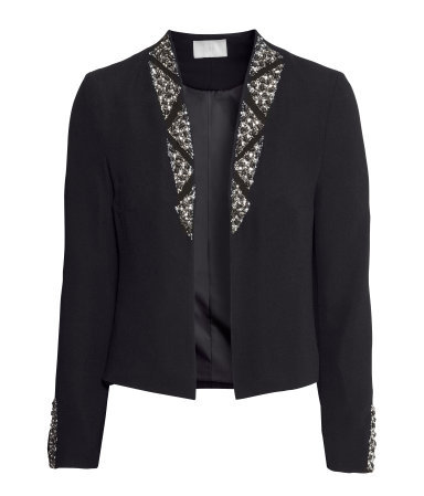 Beaded Jacket - pattern: plain; style: single breasted blazer; collar: round collar/collarless; predominant colour: black; occasions: casual, evening, occasion, creative work; length: standard; fit: tailored/fitted; fibres: polyester/polyamide - 100%; sleeve length: long sleeve; sleeve style: standard; collar break: low/open; pattern type: fabric; texture group: woven light midweight; embellishment: beading; trends: summer sparkle, shimmery metallics; season: s/s 2014