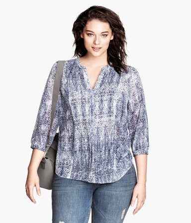 + Chiffon Blouse - style: blouse; predominant colour: pale blue; secondary colour: denim; occasions: casual, evening, creative work; length: standard; neckline: collarstand & mandarin with v-neck; fibres: polyester/polyamide - 100%; fit: loose; sleeve length: 3/4 length; sleeve style: standard; texture group: sheer fabrics/chiffon/organza etc.; pattern type: fabric; pattern size: standard; pattern: patterned/print; season: s/s 2014