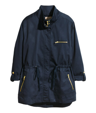 + Parka - pattern: plain; length: below the bottom; collar: funnel; fit: loose; style: parka; predominant colour: navy; occasions: casual, creative work; fibres: cotton - 100%; waist detail: belted waist/tie at waist/drawstring; sleeve length: long sleeve; sleeve style: standard; texture group: cotton feel fabrics; collar break: high/illusion of break when open; pattern type: fabric; season: s/s 2014