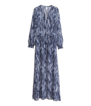 Long Dress - sleeve style: bell sleeve; fit: loose; style: maxi dress; waist detail: elasticated waist; secondary colour: white; predominant colour: navy; occasions: casual; length: floor length; neckline: peep hole neckline; fibres: polyester/polyamide - 100%; sleeve length: long sleeve; texture group: sheer fabrics/chiffon/organza etc.; pattern type: fabric; pattern size: standard; pattern: patterned/print; season: s/s 2014