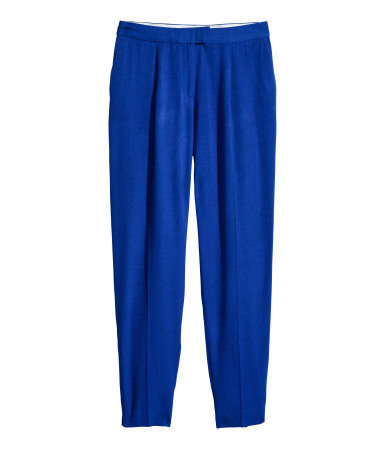 Slacks - length: standard; pattern: plain; pocket detail: pockets at the sides; waist: mid/regular rise; predominant colour: royal blue; occasions: casual, evening, work, creative work; fibres: viscose/rayon - 100%; fit: tapered; pattern type: fabric; texture group: woven light midweight; style: standard; trends: hot brights; season: s/s 2014