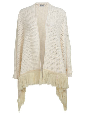 Fringed Waterfall Cardi - pattern: plain; neckline: waterfall neck; length: below the bottom; style: open front; predominant colour: ivory/cream; occasions: casual, creative work; fibres: acrylic - 100%; fit: loose; sleeve length: long sleeve; sleeve style: standard; texture group: knits/crochet; pattern type: knitted - other; embellishment: fringing; season: s/s 2014; wardrobe: highlight; embellishment location: hem