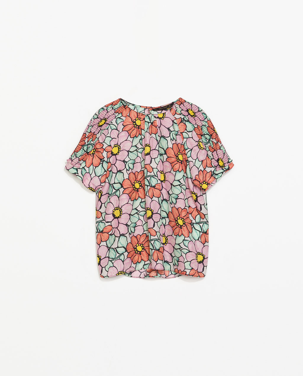 Printed Top - sleeve style: raglan; bust detail: subtle bust detail; predominant colour: pink; secondary colour: coral; occasions: casual, creative work; length: standard; style: top; fibres: polyester/polyamide - 100%; fit: straight cut; neckline: crew; shoulder detail: subtle shoulder detail; sleeve length: short sleeve; texture group: cotton feel fabrics; pattern type: fabric; pattern size: standard; pattern: florals; season: s/s 2014; multicoloured: multicoloured; wardrobe: highlight