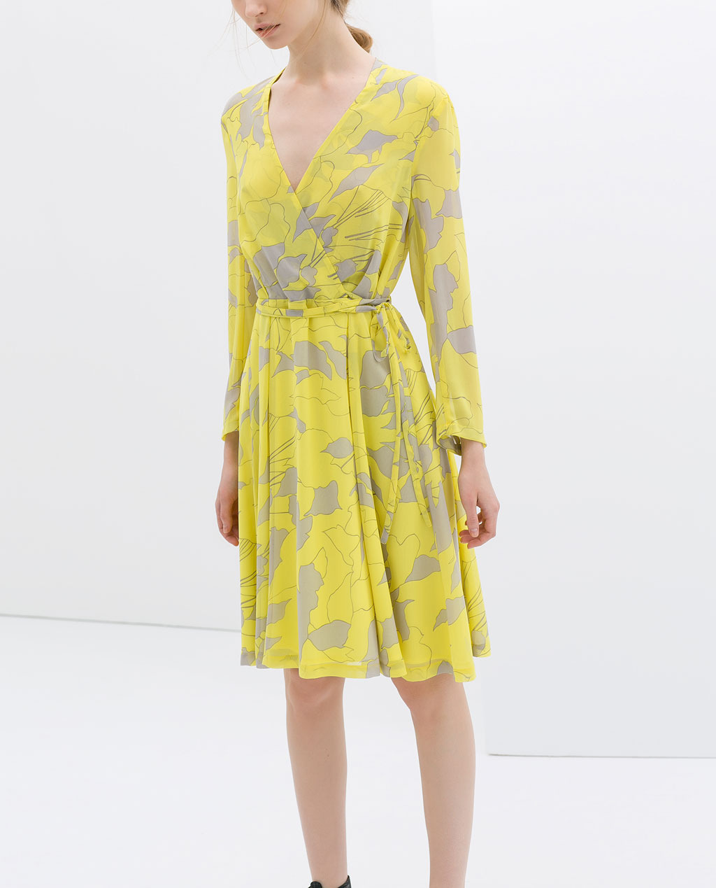 Printed Crossover Dress - style: faux wrap/wrap; neckline: v-neck; waist detail: belted waist/tie at waist/drawstring; predominant colour: yellow; secondary colour: mid grey; occasions: casual, creative work; length: on the knee; fit: soft a-line; fibres: polyester/polyamide - 100%; hip detail: subtle/flattering hip detail; sleeve length: long sleeve; sleeve style: standard; texture group: cotton feel fabrics; pattern type: fabric; pattern size: big & busy; pattern: florals; trends: furious florals; season: s/s 2014