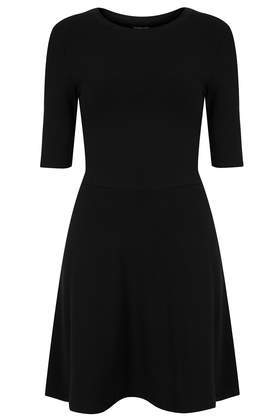 Clean Flippy Tunic - length: mid thigh; pattern: plain; predominant colour: black; occasions: casual, creative work; fit: fitted at waist & bust; style: fit & flare; fibres: cotton - 100%; neckline: crew; sleeve length: 3/4 length; sleeve style: standard; texture group: cotton feel fabrics; pattern type: fabric; season: s/s 2014