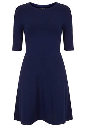 Clean Flippy Tunic - length: mid thigh; pattern: plain; predominant colour: navy; occasions: casual, creative work; fit: fitted at waist & bust; style: fit & flare; fibres: cotton - 100%; neckline: crew; sleeve length: half sleeve; sleeve style: standard; texture group: cotton feel fabrics; pattern type: fabric; season: s/s 2014