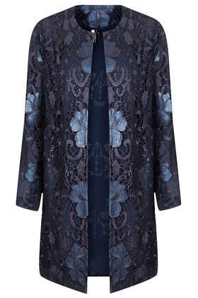 Lace Overlay Coat - collar: round collar/collarless; style: single breasted; length: mid thigh; predominant colour: navy; occasions: evening, occasion; fit: straight cut (boxy); fibres: polyester/polyamide - 100%; sleeve length: 3/4 length; sleeve style: standard; texture group: lace; collar break: high; pattern type: fabric; pattern: patterned/print; season: s/s 2014