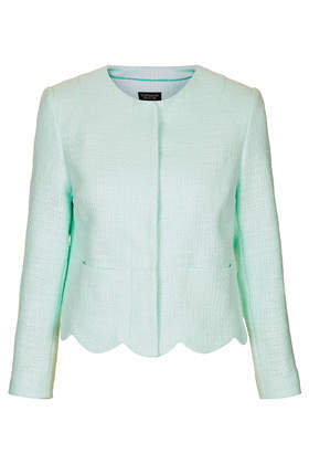 Boucle Scallop Hem Jacket - pattern: plain; style: single breasted blazer; collar: round collar/collarless; predominant colour: mint green; occasions: work, occasion, creative work; length: standard; fit: straight cut (boxy); fibres: cotton - mix; sleeve length: 3/4 length; sleeve style: standard; collar break: high; pattern type: fabric; texture group: tweed - light/midweight; trends: sorbet shades; season: s/s 2014