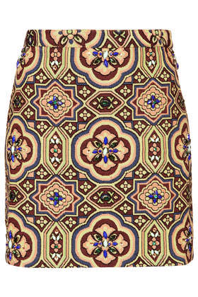 Embellished Folk Jacquard Skirt - length: mini; waist: mid/regular rise; secondary colour: burgundy; predominant colour: primrose yellow; occasions: casual, evening, creative work; style: mini skirt; fibres: polyester/polyamide - mix; fit: straight cut; pattern type: fabric; pattern: patterned/print; texture group: brocade/jacquard; embellishment: jewels/stone; season: s/s 2014; multicoloured: multicoloured; wardrobe: highlight; embellishment location: all over, pattern