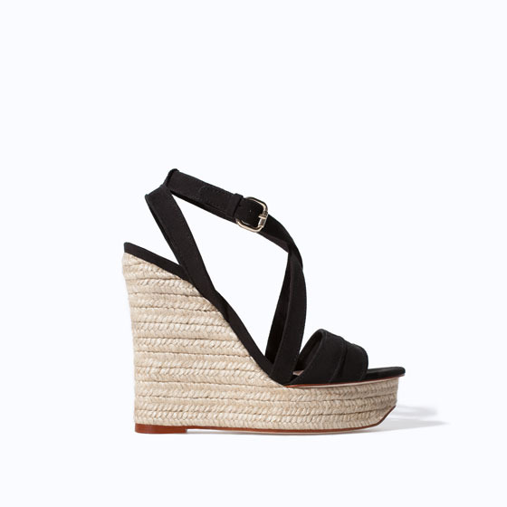 Basic Jute Wedge - predominant colour: black; occasions: casual, holiday; ankle detail: ankle strap; heel: wedge; toe: open toe/peeptoe; style: standard; finish: plain; pattern: plain; heel height: very high; material: faux suede; shoe detail: platform; season: s/s 2014